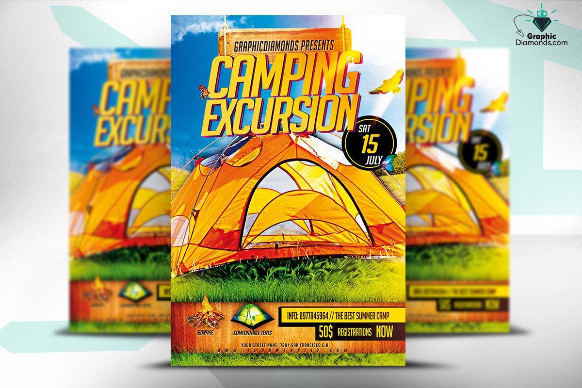 camping excursion psd flyer flyer templates creative market