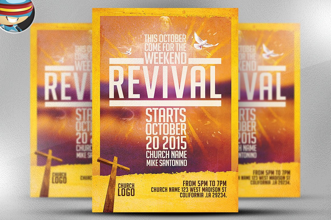worship church christian flyer flyer templates on creative market church revival flyer template