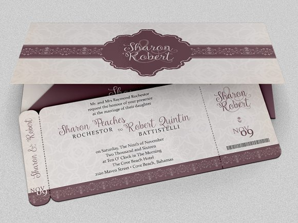 Wedding Boarding Pass Invitation Wedding Templates Creative Market