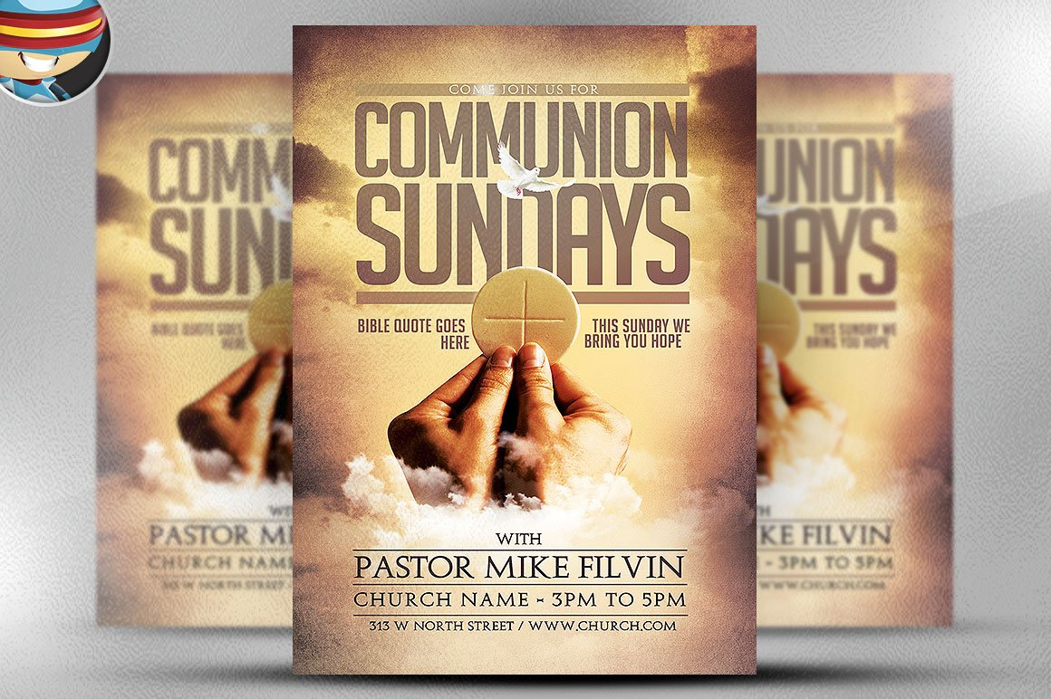 flyer heroes flyerheroes christian flyer templates collection communion sundays flyer template