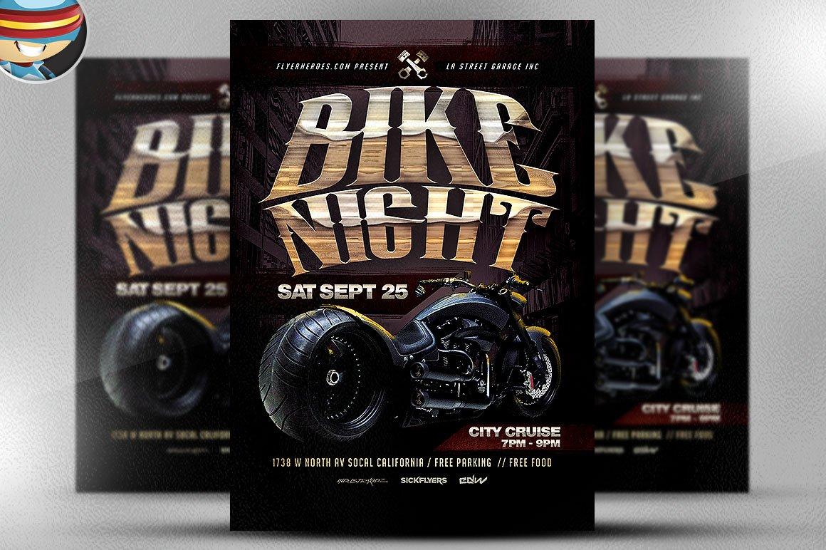 bike night flyer template flyer templates creative market. Black Bedroom Furniture Sets. Home Design Ideas
