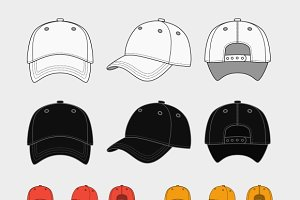 baseball cap silhouette template illustrations creative market