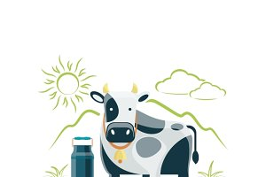 Fresh milk eco farm logo with cow
