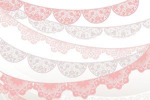 Lace banner - pink, beige, white