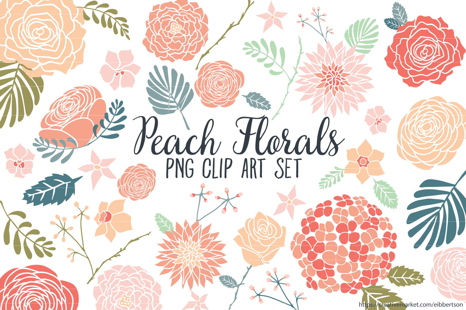 Peach Floral Clipart Flower Clip Art Illustrations Creative Market