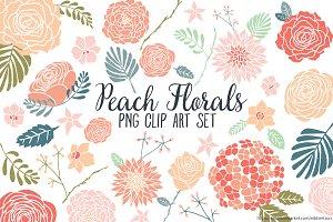 Peach Floral Clipart Flower Clip Art