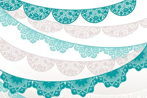 Lace banner - teal, beige, white