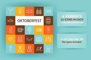 Oktoberfest Line Art Icons