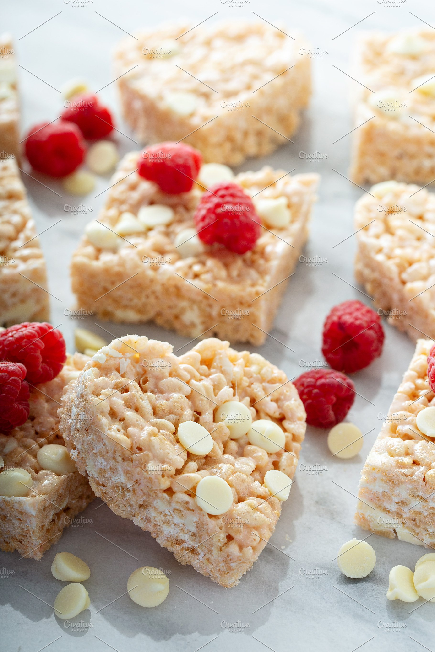 Heart And Square Shaped Rice Crispy High Quality Food Images