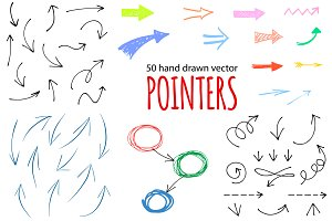 50 hand drawn vector pointers arrows
