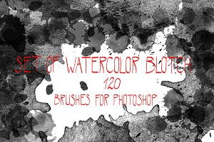 Watercolor blotch brushes set