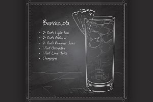 Cocktail Barracuda on black board
