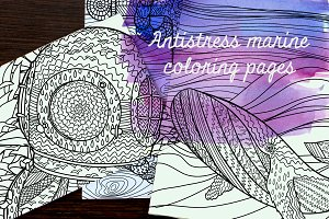 Antistress marine coloring pages