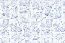 Scetch pattern cocktails