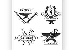 Set of vintage blacksmith logo