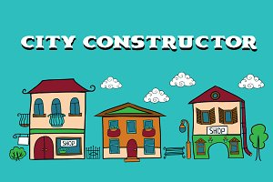 Cartoon vector city constructor.