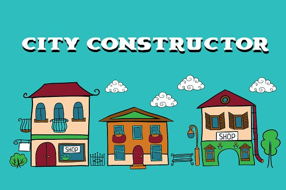 Cartoon vector city constructor.