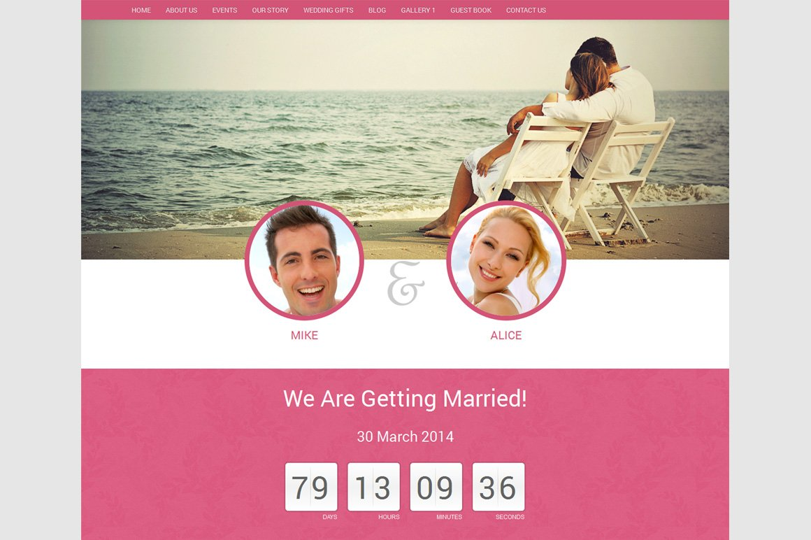 Wedding Website Template Html Htmlcss Themes Creative Market