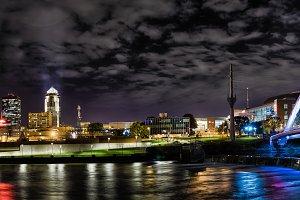 Des Moines Iowa night long exposure