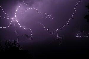 Lightning bolts in the night