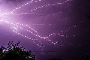 Lightning streaks across sky