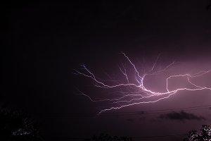 Lightning streaking through night