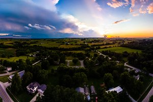 Colorful panorama sunset