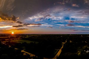 Colorful panoramic sunset
