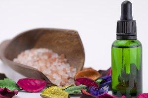 Essential oil, potpourri, sea salt