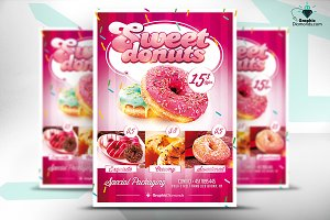 Sweet Donuts Flyer PSD Template