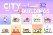 City buildings in flat design style