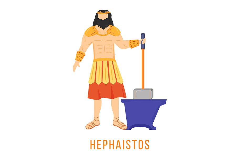 Hephaistos Flat Vector Illustration