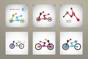 Set of 6 motorcycle icon