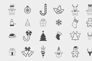 Set of 24 christmas vector icon