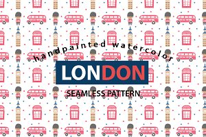 London Watercolor Seamless Pattern