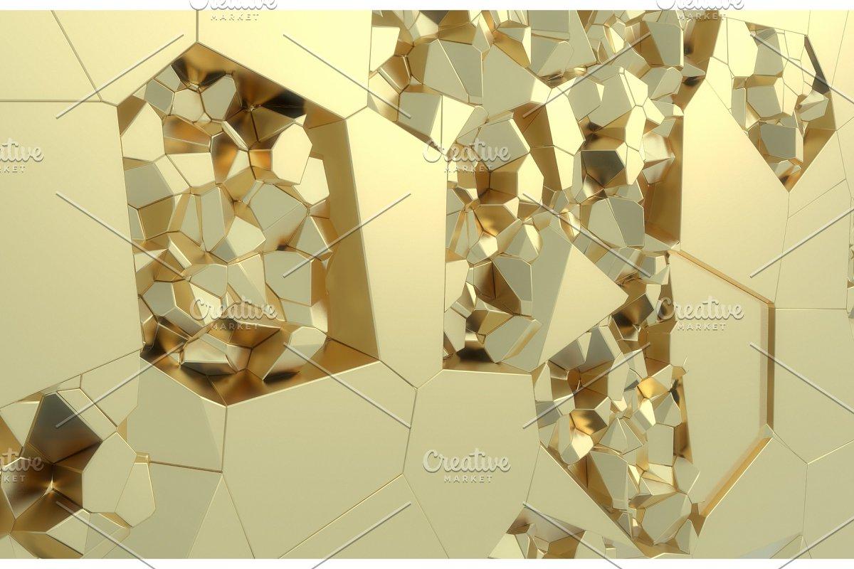 3d render, golden modern shattered