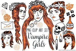 Vampire Girls Clip Art PNG