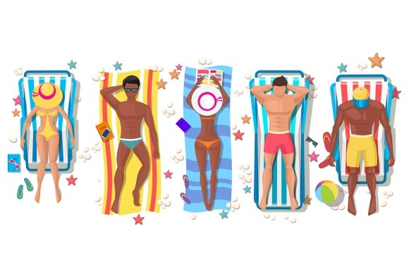 Summer beach people on sun lounger