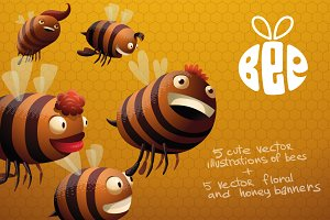 Bees bundle, vector