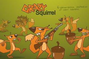 Crazy Squirrel bundle, vector
