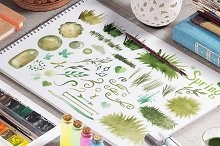 Spring green watercolor collection