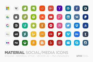 Material Social/Media Icons