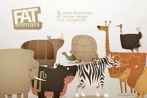 Fat animals bundle, vector