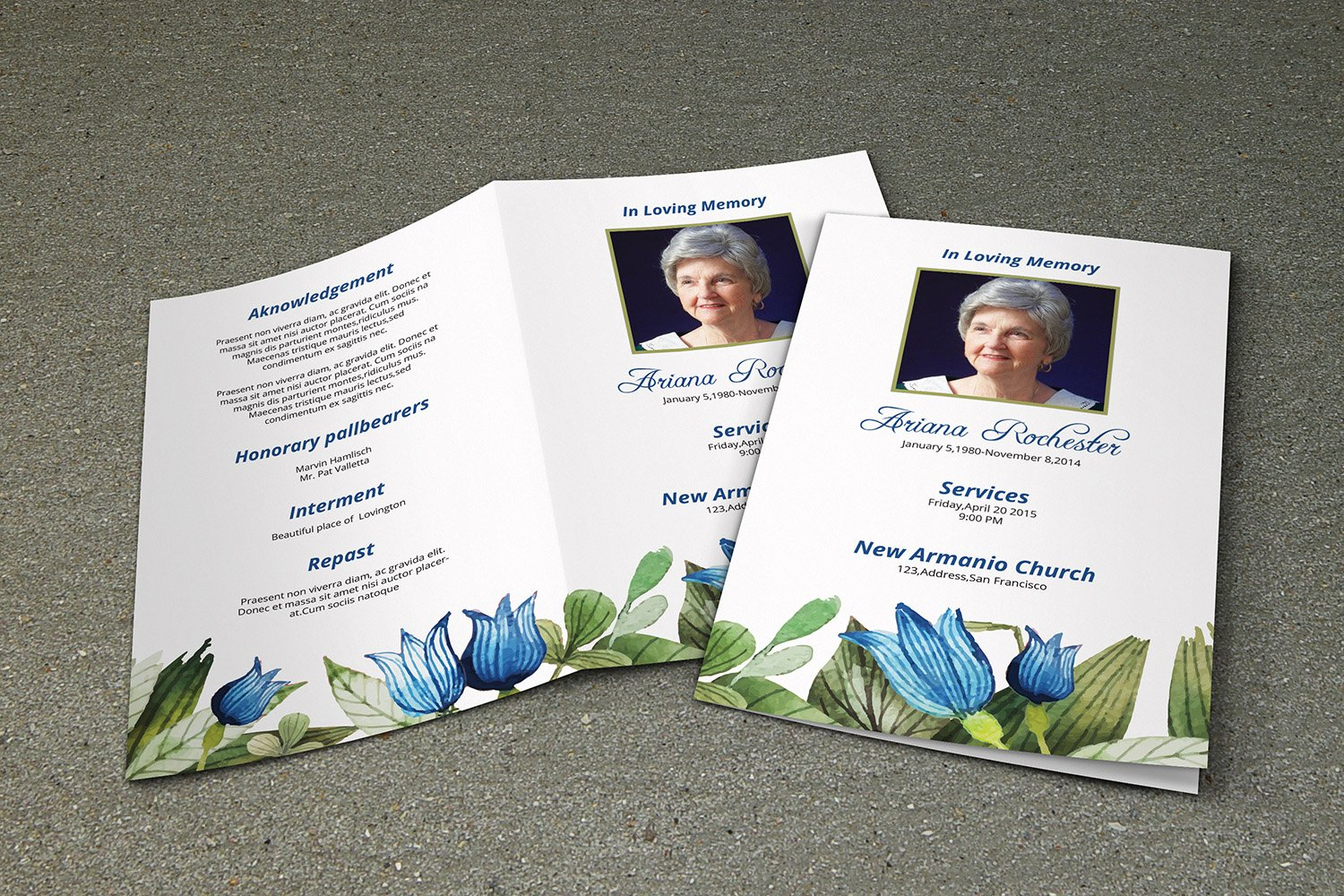 8 page funeral booklet v228 brochure templates creative market