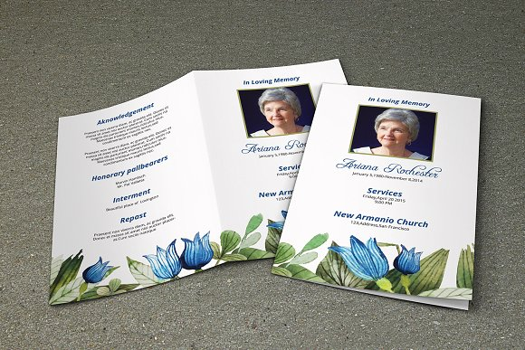 8 Page Funeral Booklet - V228