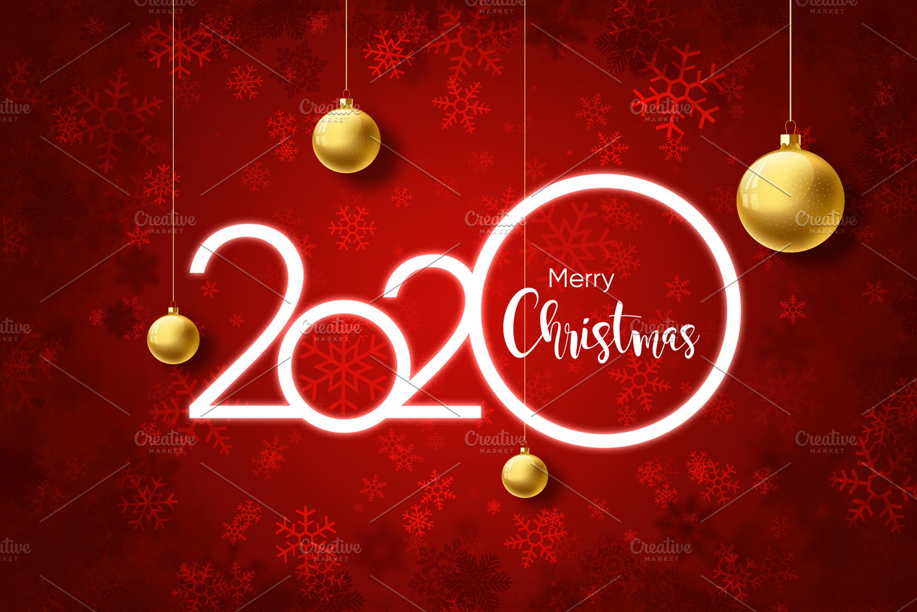 2020 Merry christmas on red backgrou