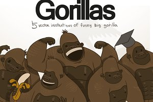Gorillas bundle, vector
