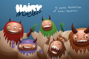 Hairy monsters bundle, vector