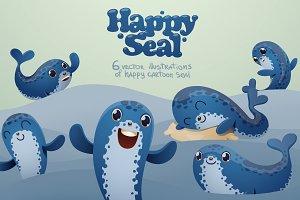 Happy seal bundle, vector