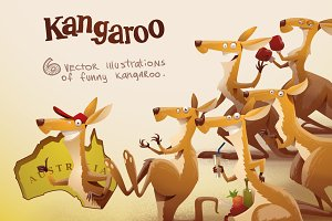 Kangaroo bundle, vector